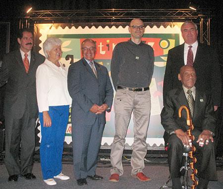 Congressman José E. Serrano (NY-16), Congresswoman Grace Flores Napolitano (CA-38), Congressman Joe Baca (CA-43), the stamp artist guy, U.S. Postmaster General John E. Potter, and 2008 NEA Jazz Master Candido Camero.