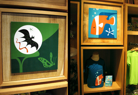 Rainforest and Aquarium display panels, t-shirts, notebooks in the main store.