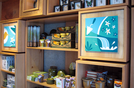 A pair of display panels in the main store's Sustainability and Gardening area.